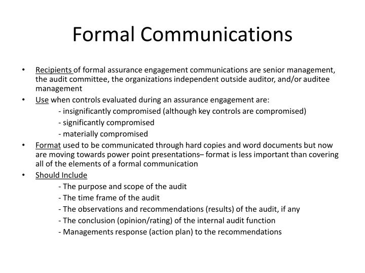 Formal Communications
