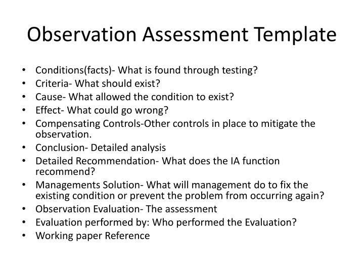 Observation Assessment Template
