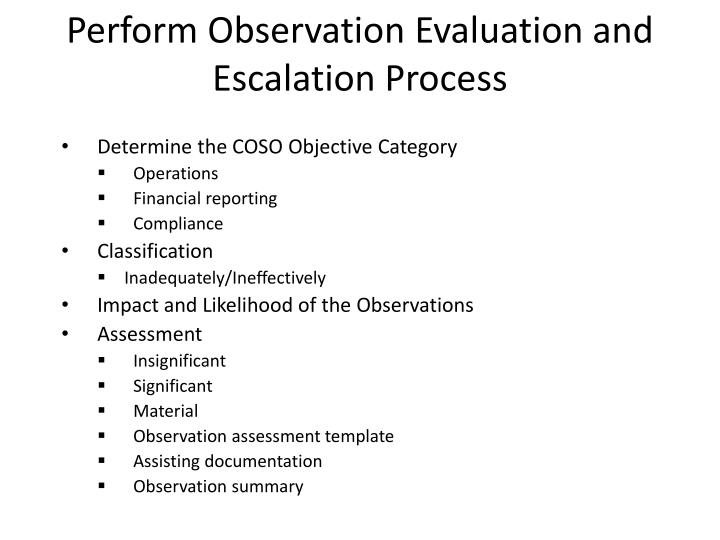 Perform observation e valuation and escalation p rocess