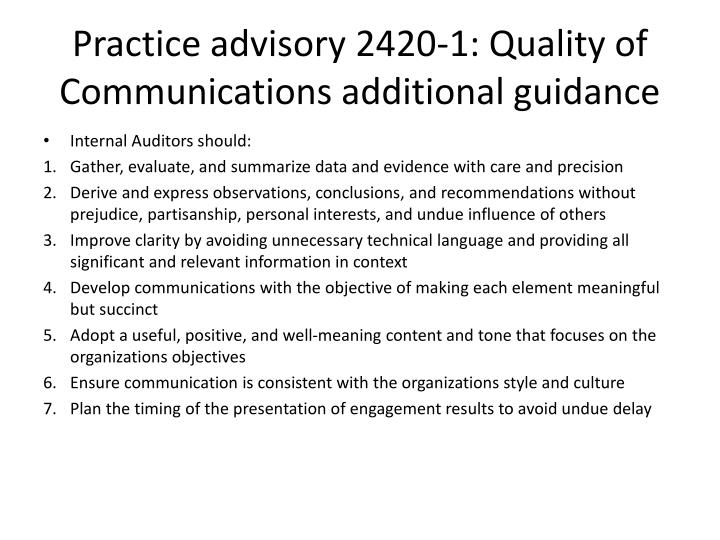 Practice advisory 2420-1: Quality of Communications additional guidance