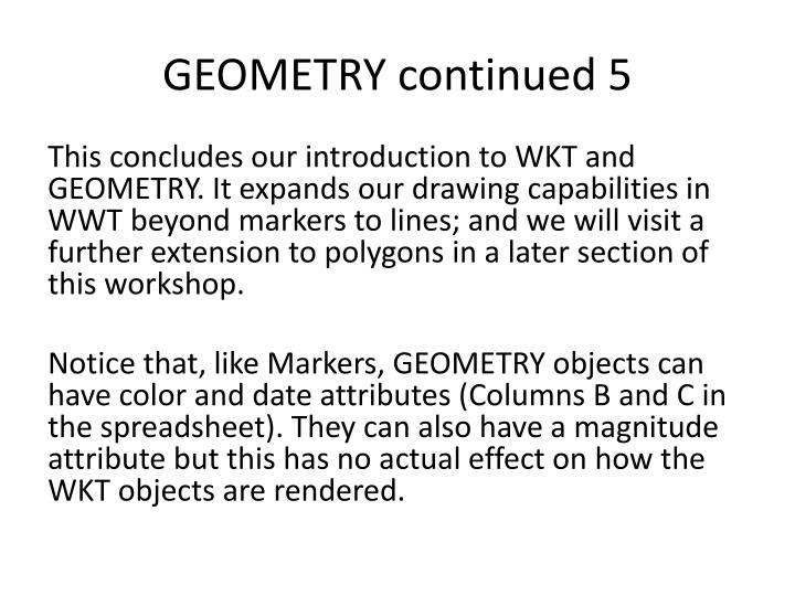 GEOMETRY continued 5
