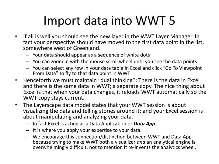 Import data into WWT 5