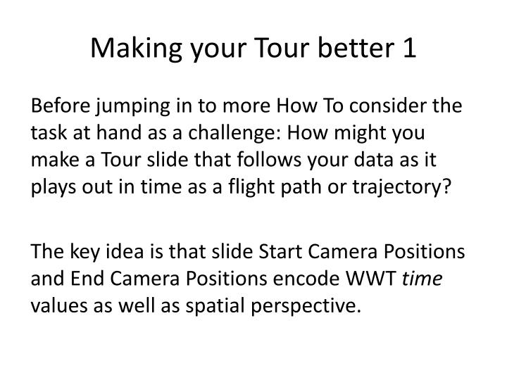 Making your Tour better 1