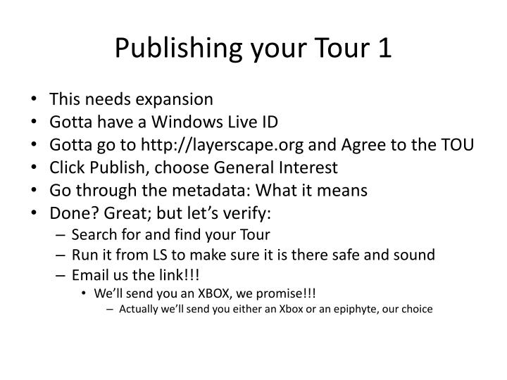 Publishing your Tour 1