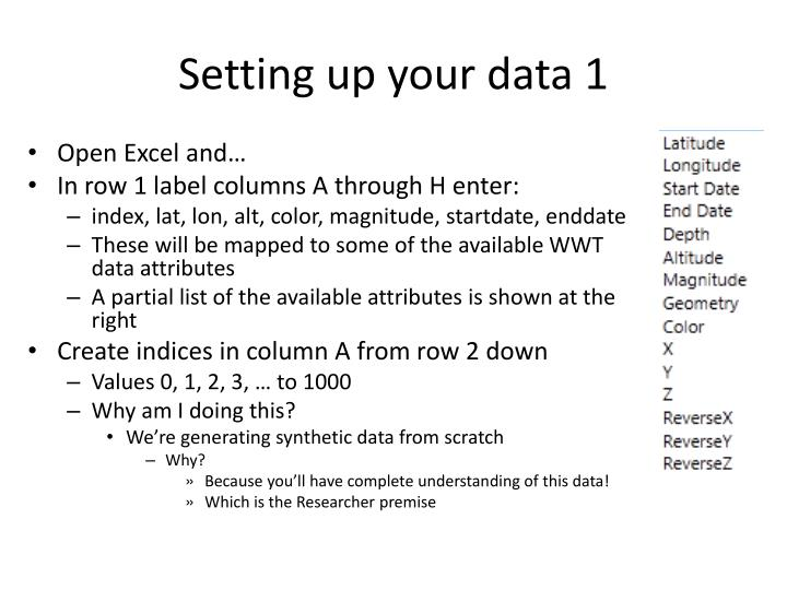 Setting up your data 1
