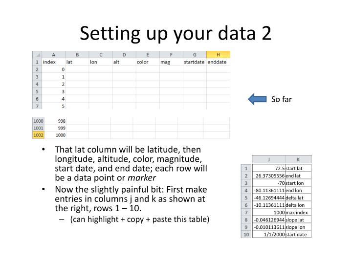 Setting up your data 2
