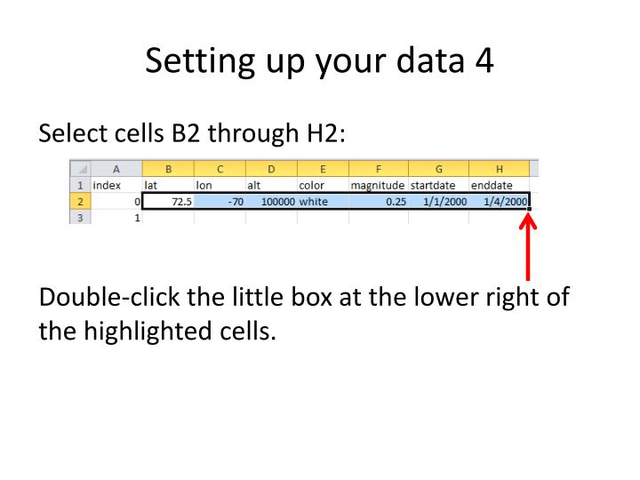 Setting up your data 4