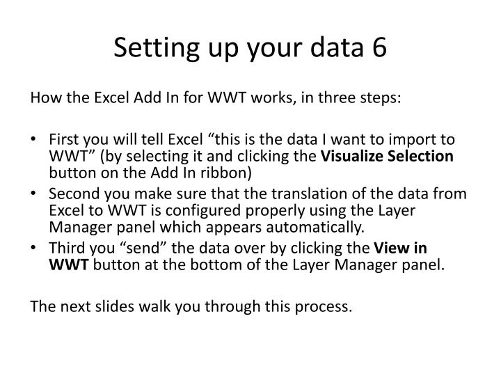 Setting up your data 6