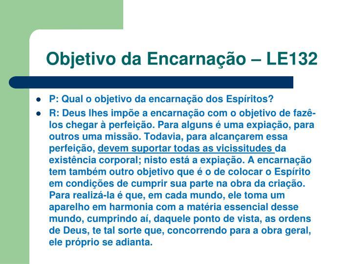 Objetivo da Encarnação – LE132