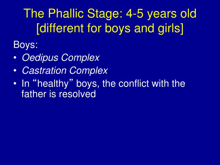 The Phallic Stage: 4-5 years old [different for boys and girls]