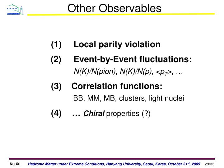 Other Observables