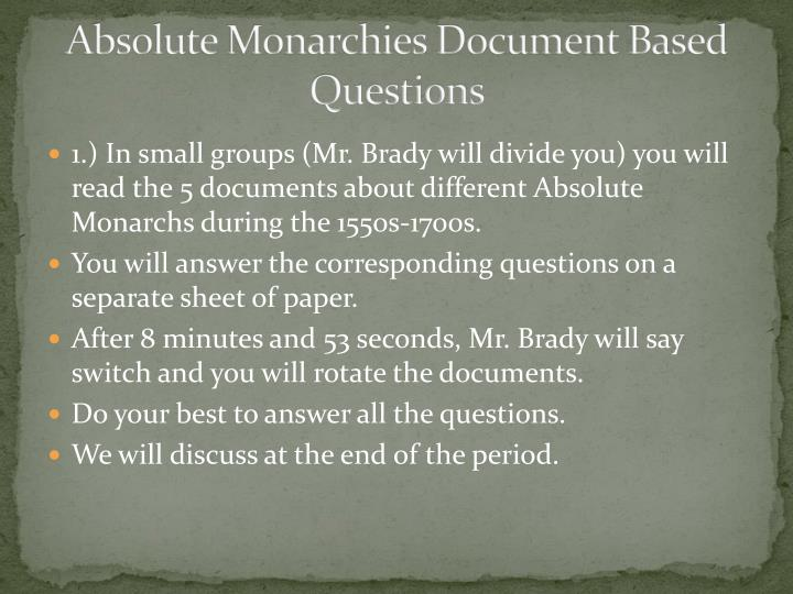 Absolute Monarchies Document Based Questions