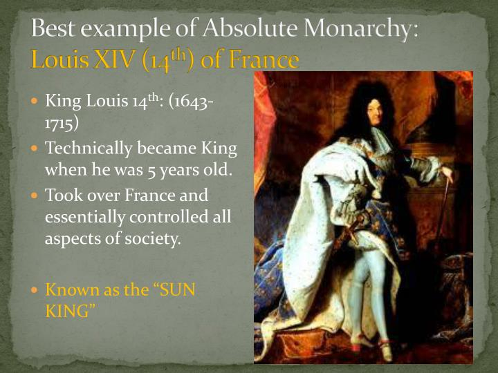 Best example of Absolute Monarchy: