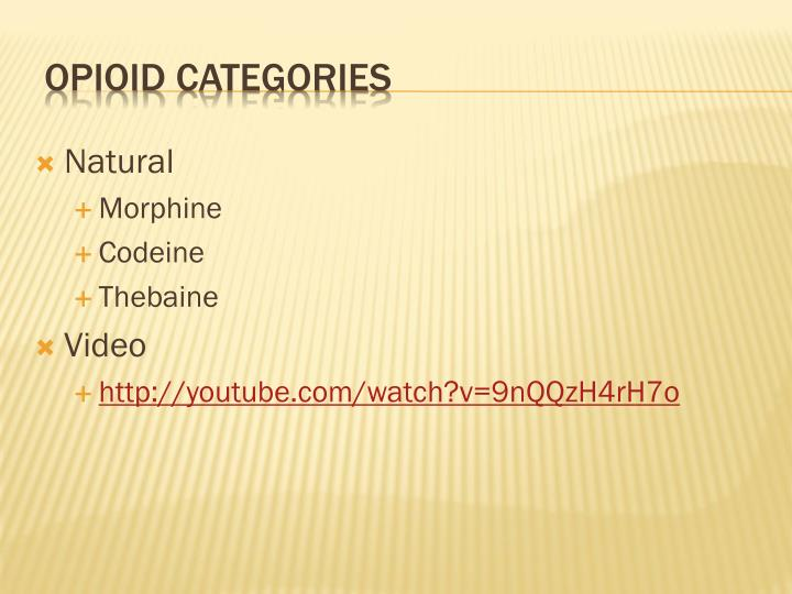 Opioid categories