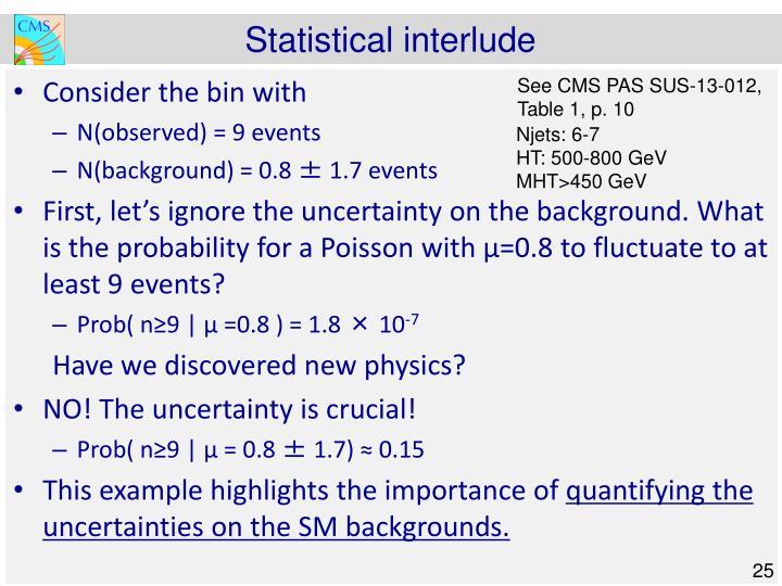 Statistical interlude