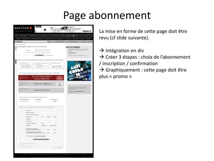 Page abonnement