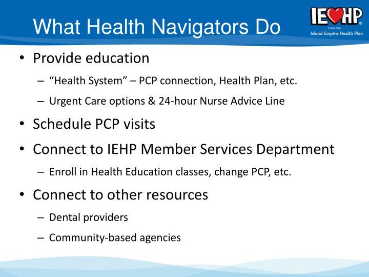 What Health Navigators Do