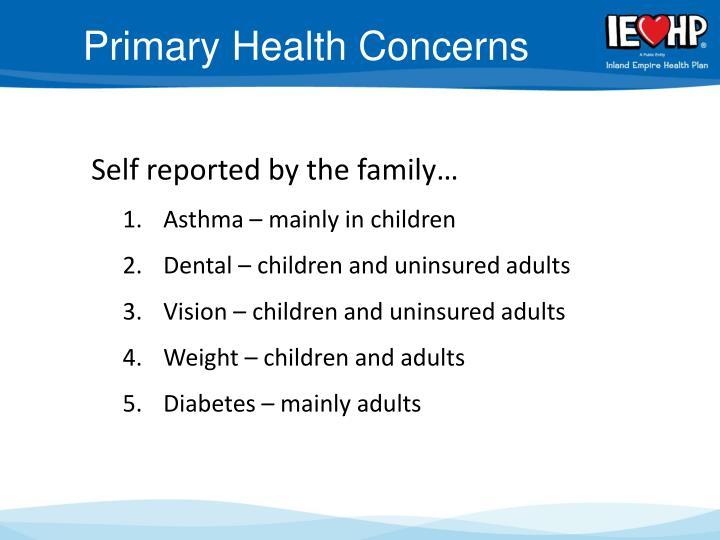 Primary Health Concerns