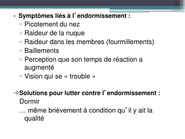Symptômes liés à l