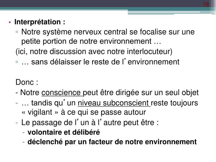 Interprétation :