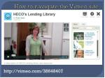 how to navigate the vimeo site