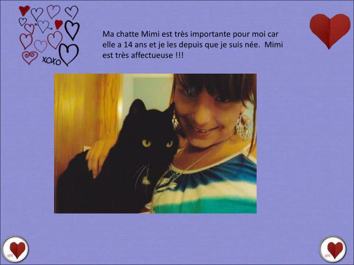 Ma chatte Mimi est très importante pour moi car elle a 14 ans et je les depuis que je suis née.  Mimi est très affectueuse !!!