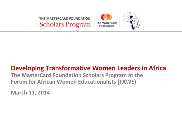 Developing Transformative Women Leaders