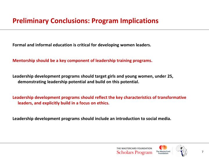 Preliminary Conclusions: Program Implications