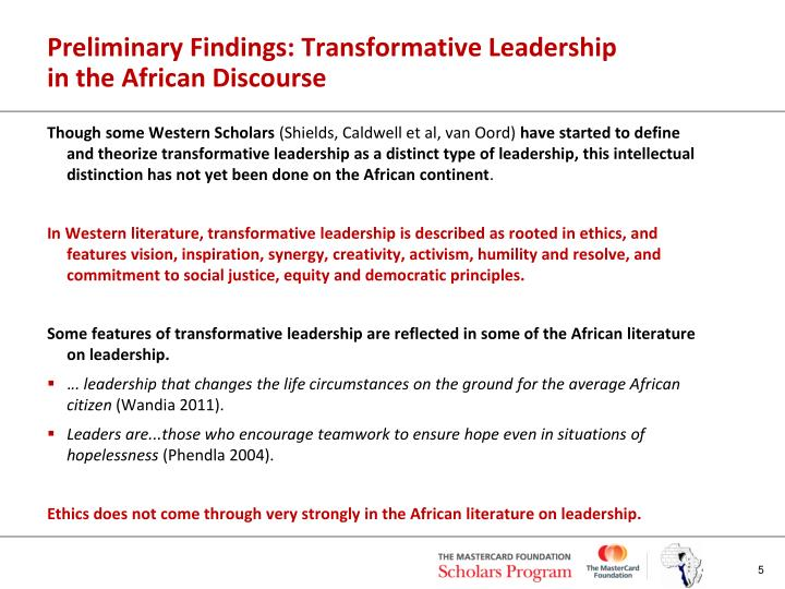 Preliminary Findings: Transformative Leadership in the African Discourse