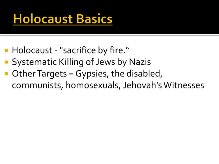 Holocaust basics