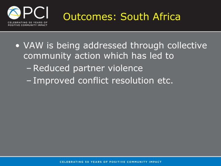 Outcomes: South Africa