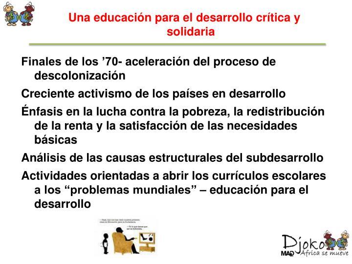 Una educación para el desarrollo crítica y solidaria