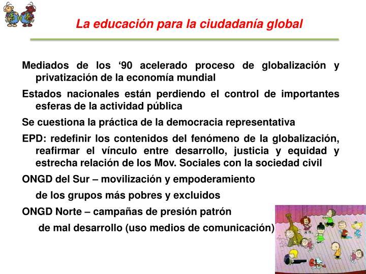 La educación para la ciudadanía global