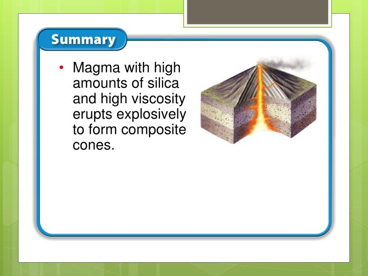 Magma with high amounts of silica and high viscosity erupts explosively to form composite cones.