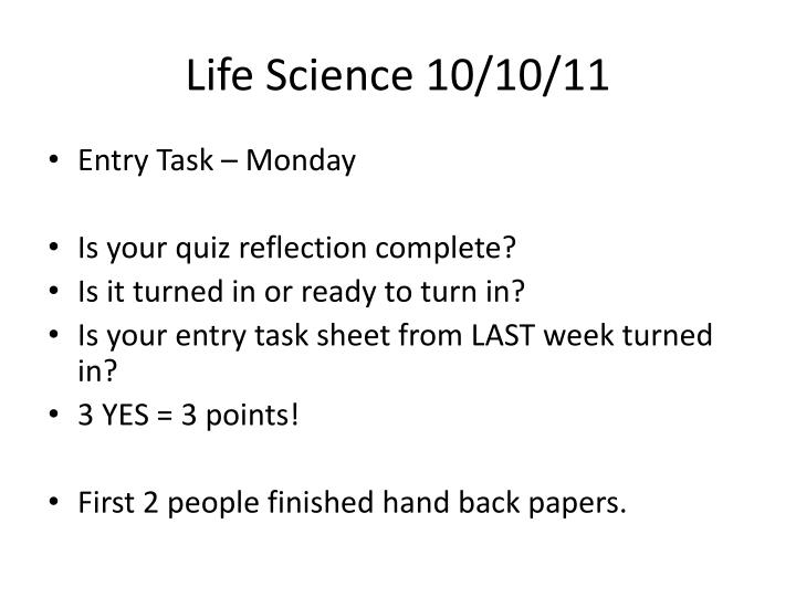 Life Science 10/10/11