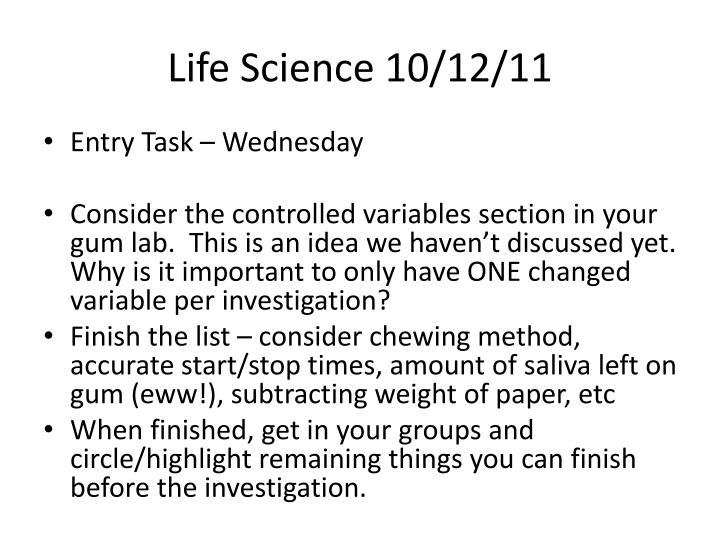 Life Science 10/12/11
