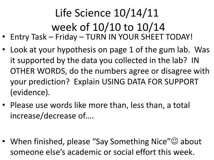 Life Science 10/14/11