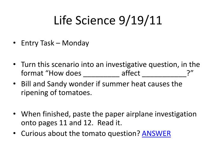 Life Science 9/19/11