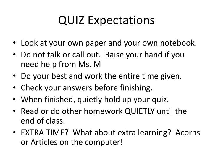 QUIZ Expectations