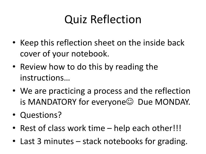 Quiz Reflection