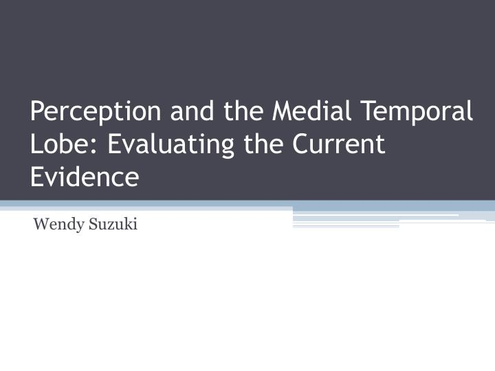 Perception and the medial temporal lobe evaluating the current evidence