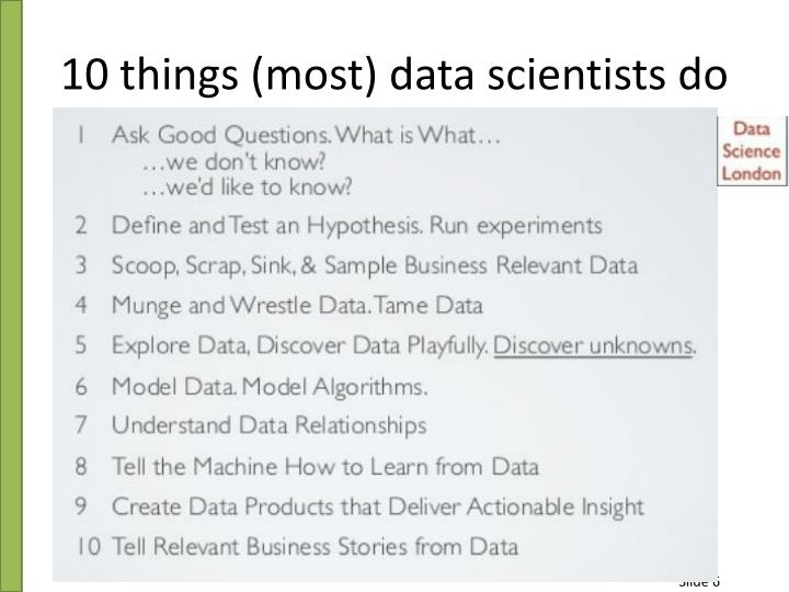 10 things (most) data scientists do