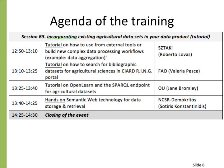 Agenda of the training