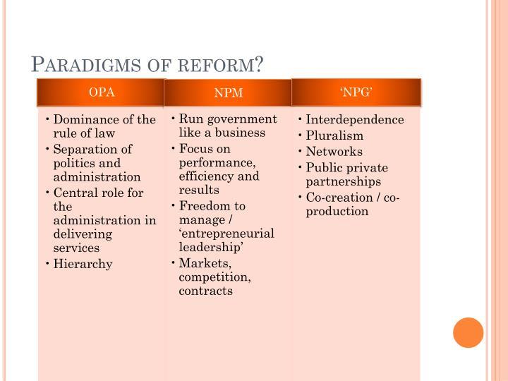 Paradigms of reform?