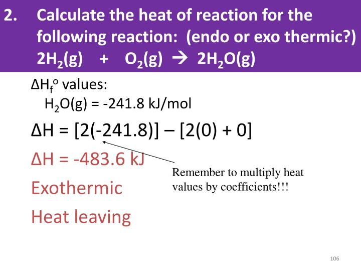 Calculate the heat of reaction for the following reaction:  (
