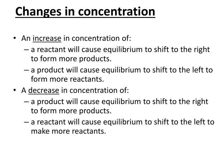 Changes in concentration