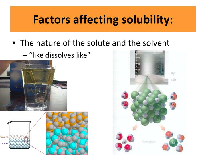 Factors affecting solubility:
