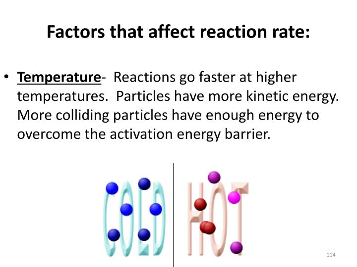 Factors that affect reaction rate:
