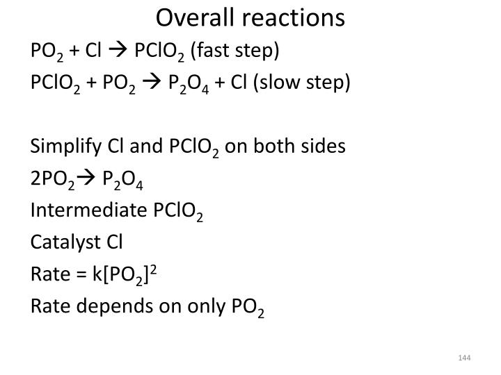 Overall reactions
