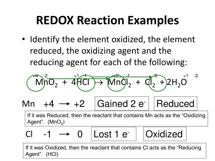 REDOX Reaction Examples
